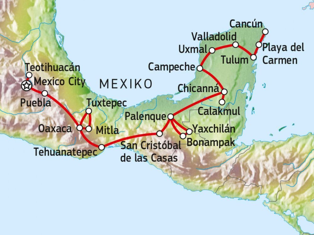 191A30010 Kultur & Wandern in Mexiko Karte