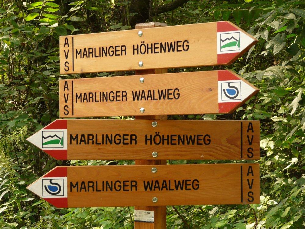 Wegweiser Marlinger Waalweg