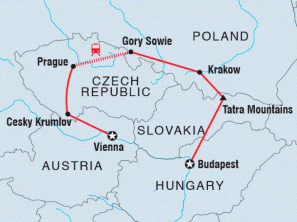 122Y40240 Von Wien nach Budapest Karte