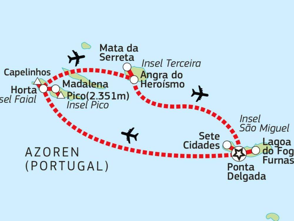 Azoren Wanderreise Karte