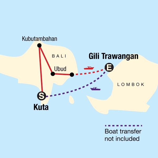 Bali Backpacking Reise Karte