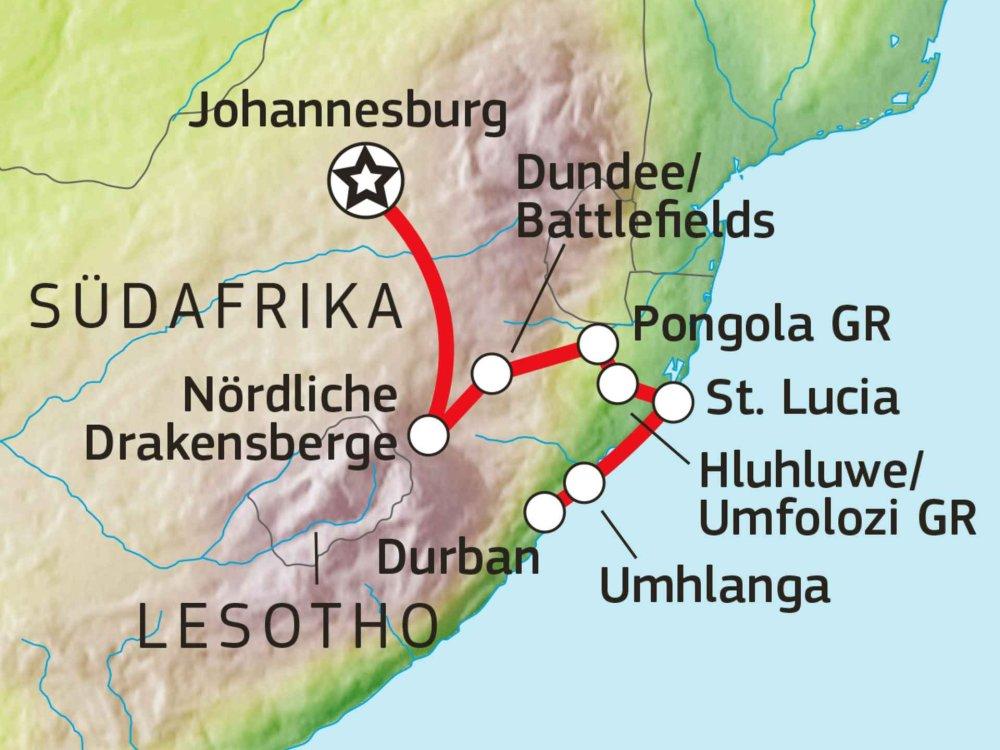 155Y10403 Mietwagenreise von Johannesburg nach Durban Karte