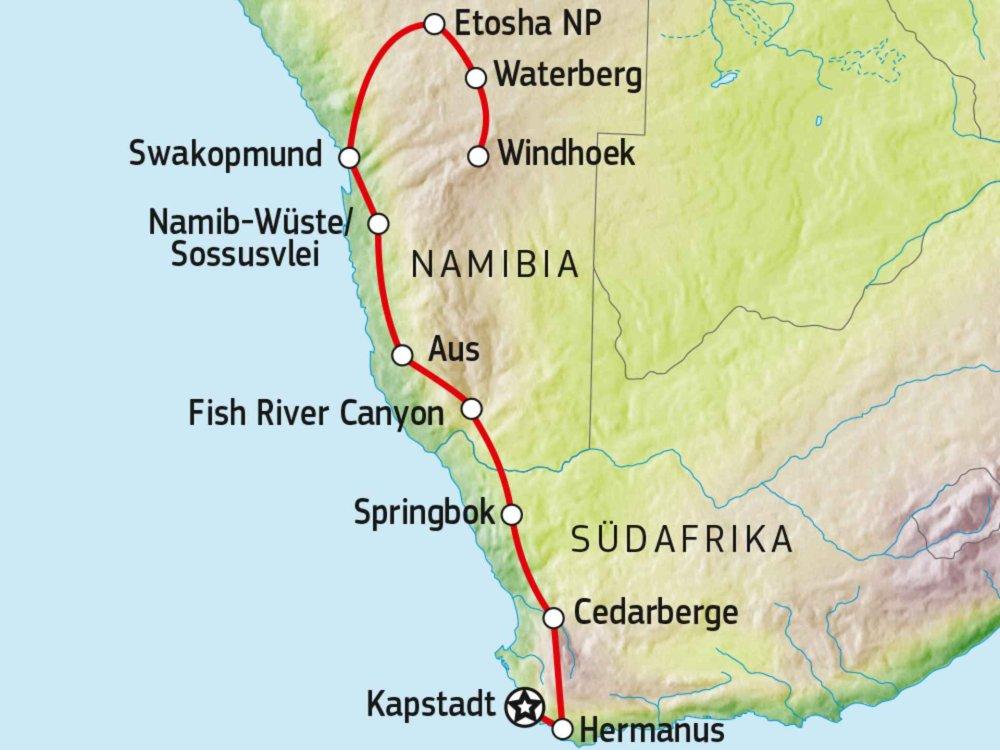 156T00006 Selbstfahrertour von Kapstadt nach Windhoek Karte