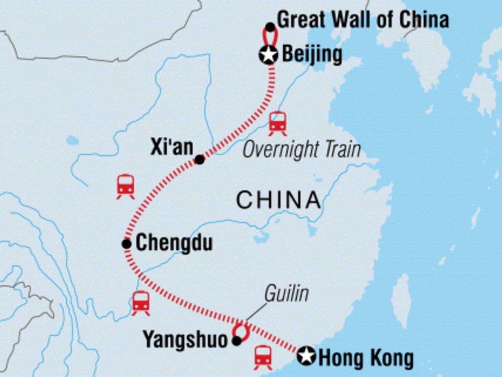 131Y21145 China Abenteuerreise - Von Peking nach Hongkong Karte