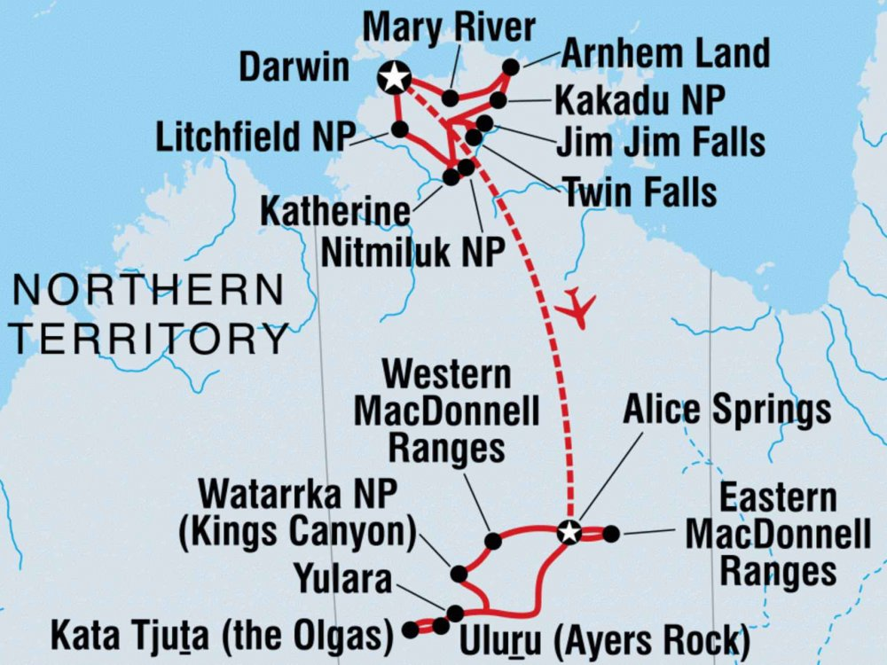 104Y20009 Erlebnisreise Northern Territory und Outback Karte