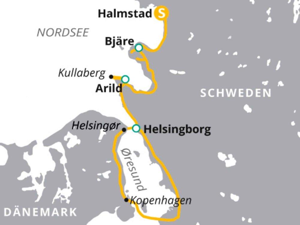 123H10036 Radreise an Schwedens Küste Karte