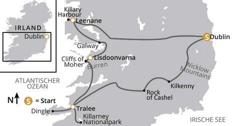 Irland Natur- und Kulturreise intensiv Karte