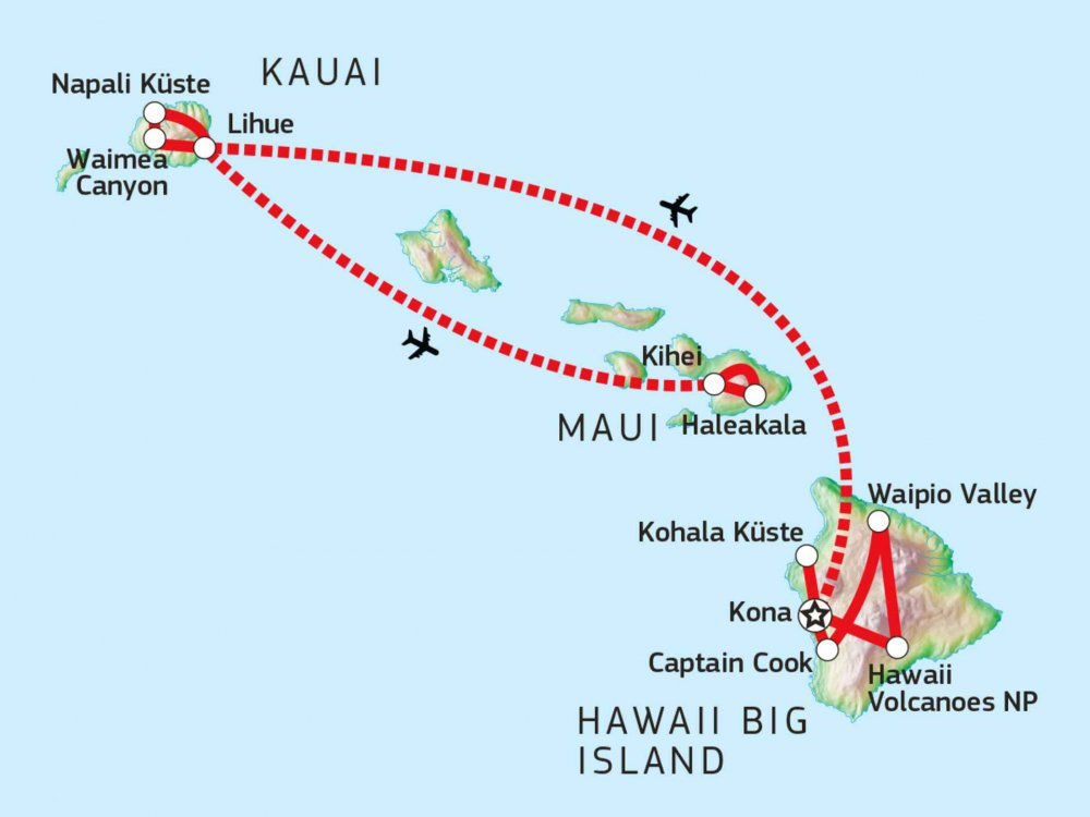 187W11030 Hawaii Wanderreise im Südpazifik Karte