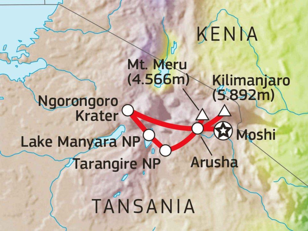 140S31001 Tansania Trekking Total & Safari Karte