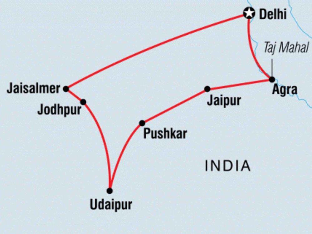 131Y21149 Rajasthan Erlebnisreise für junge Weltentdecker Karte