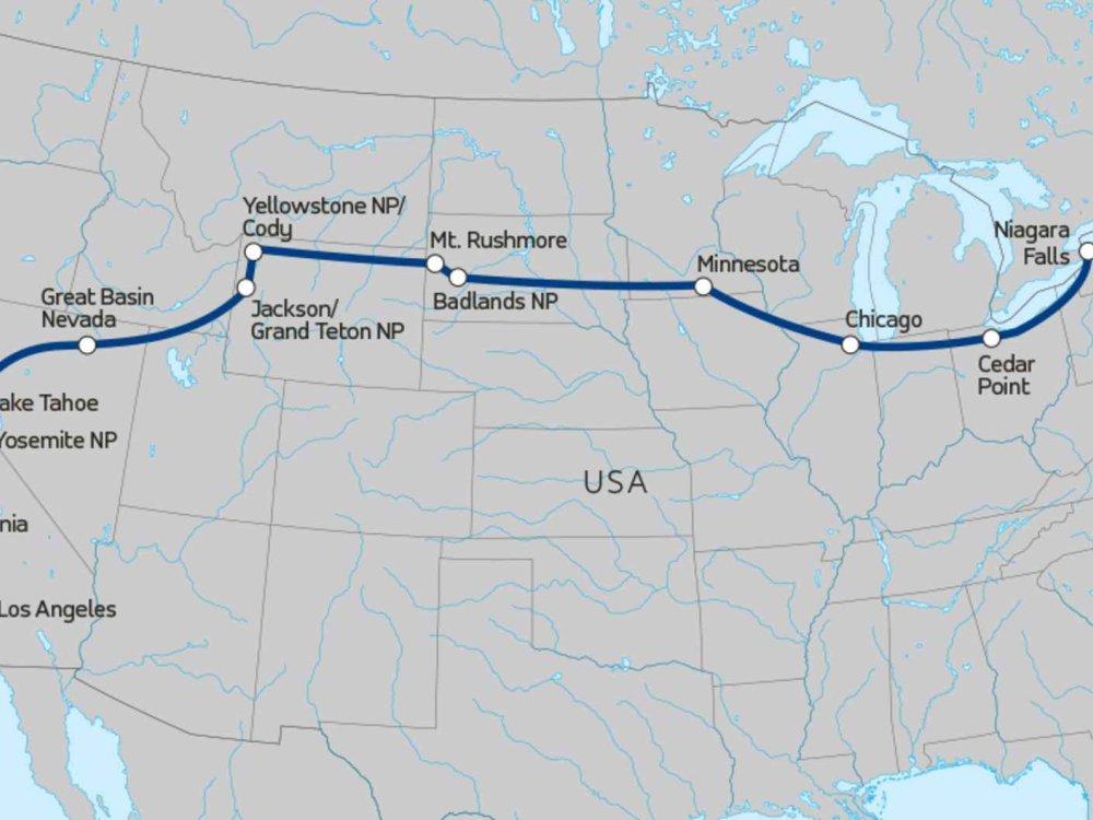139Y10022 Erlebnisreise quer durch Nordamerika Karte