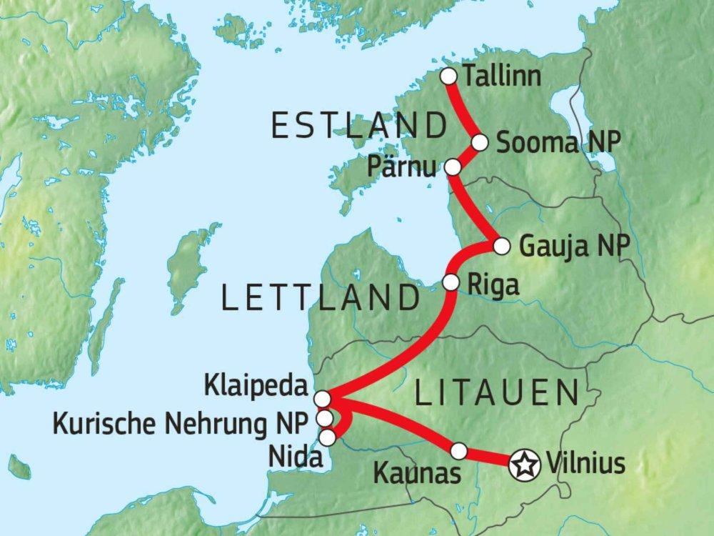 149Y10030 Schätze des Baltikum mit dem Mietwagen entdecken Karte