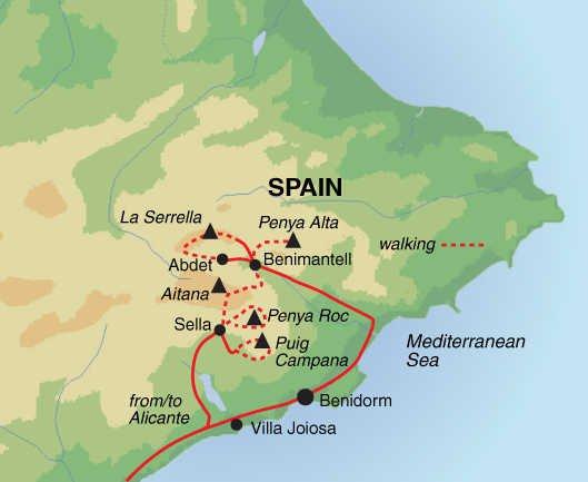 Trekking in der Sierra de Aitana Karte