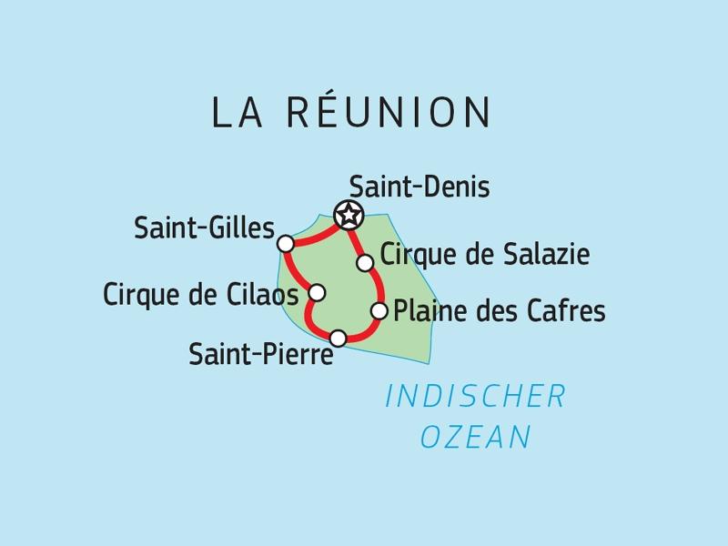 Vulkaninsel Reunion zum Kennenlernen Karte