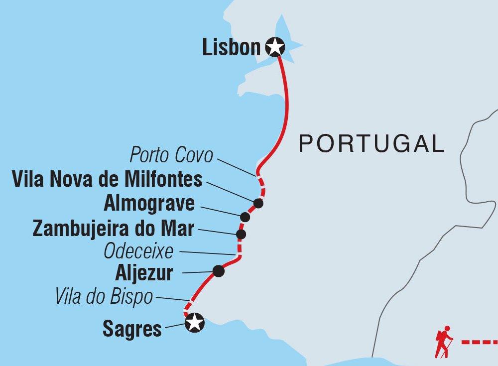 Portugal Rota Vicentina Karte