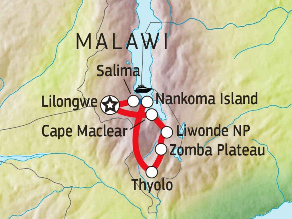120Y10014 Malawi aus allen Perspektiven Karte