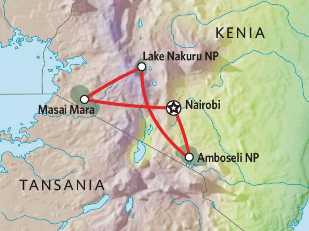 173Y10005 Kenia Camping Safari V - Masai Mara, Nakuru & Amboseli Karte