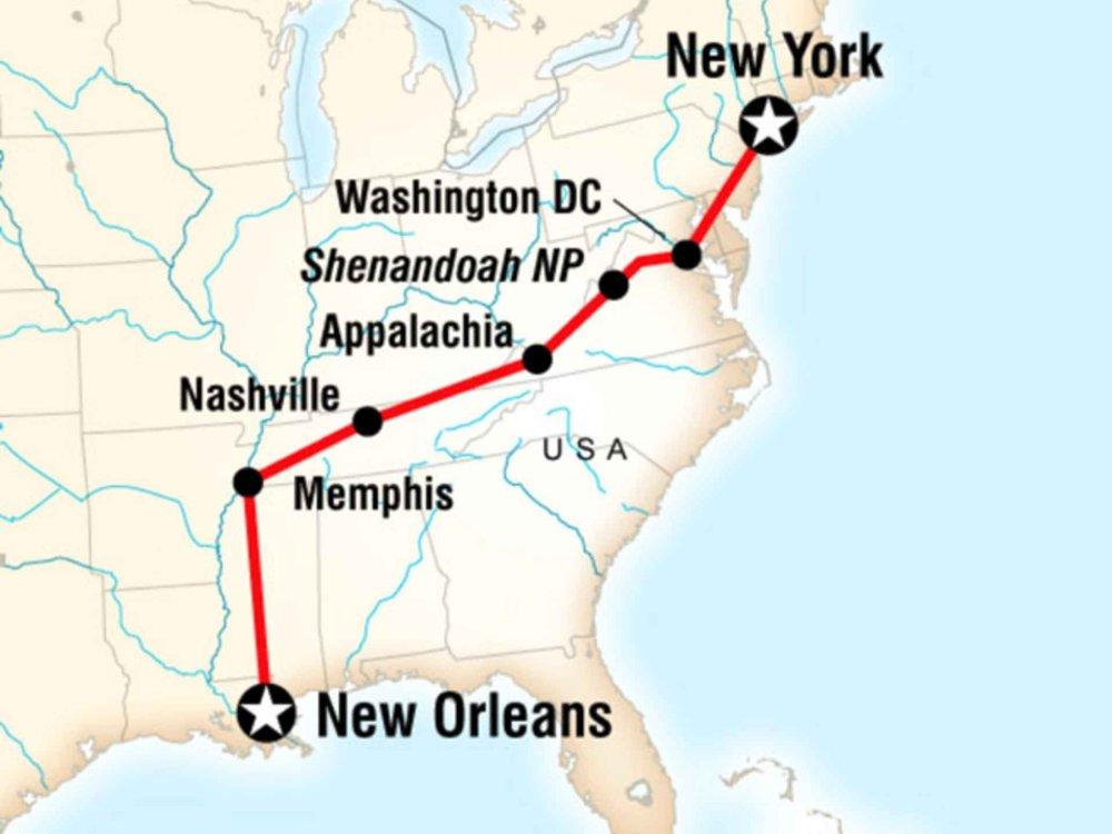 130Y60033 Erlebnistour New York nach New Orleans Karte