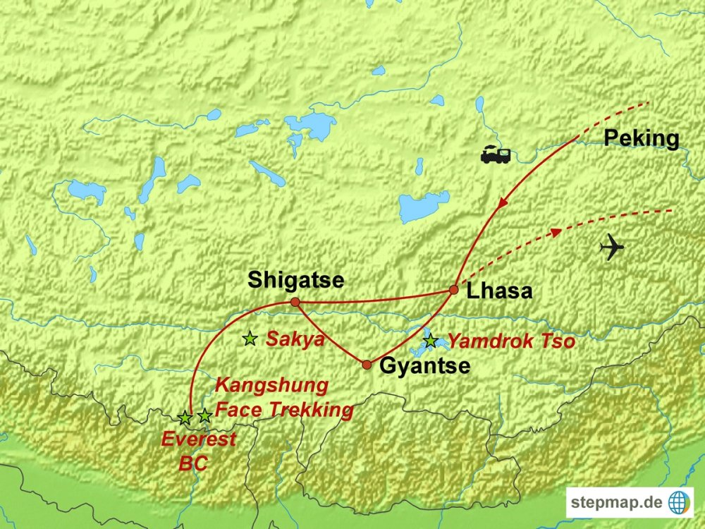 146M51002 Tibet - Trekking auf den Spuren berühmter Bergsteiger Karte