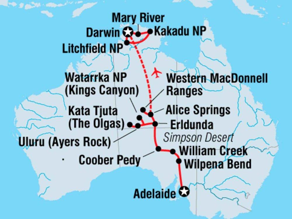 104Y20012 Von Adelaide nach Darwin Karte