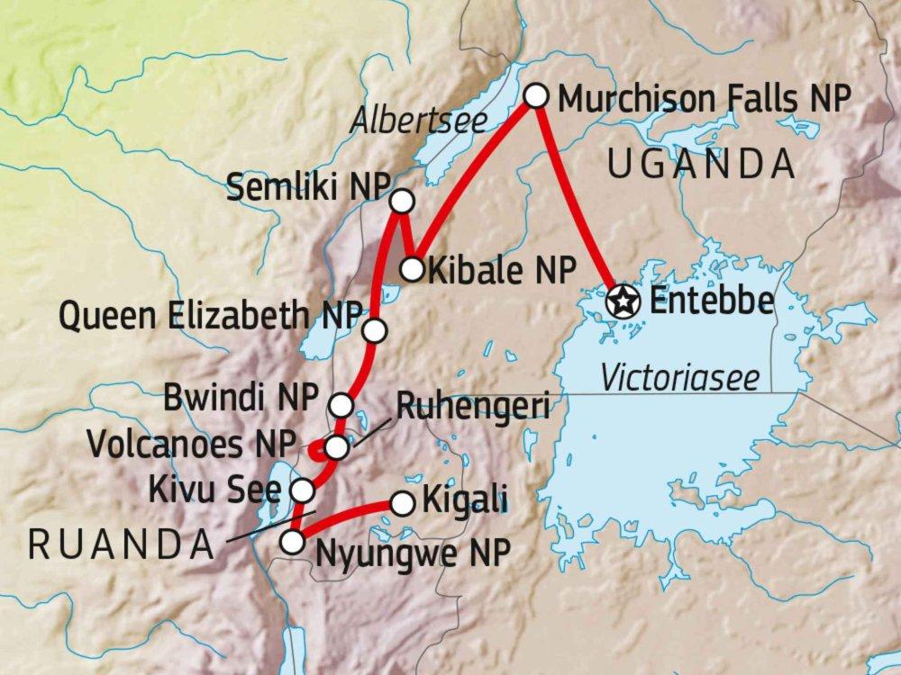 195Y21005 Uganda & Ruanda Entdeckertour Karte