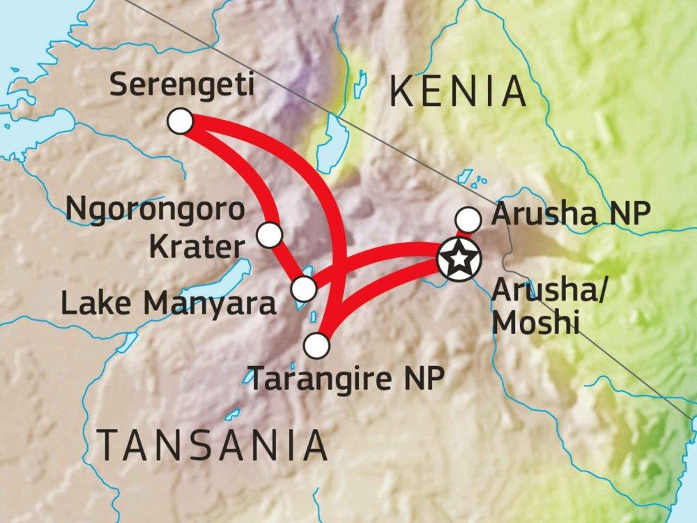 Tansania Safari Höhepunkte Karte