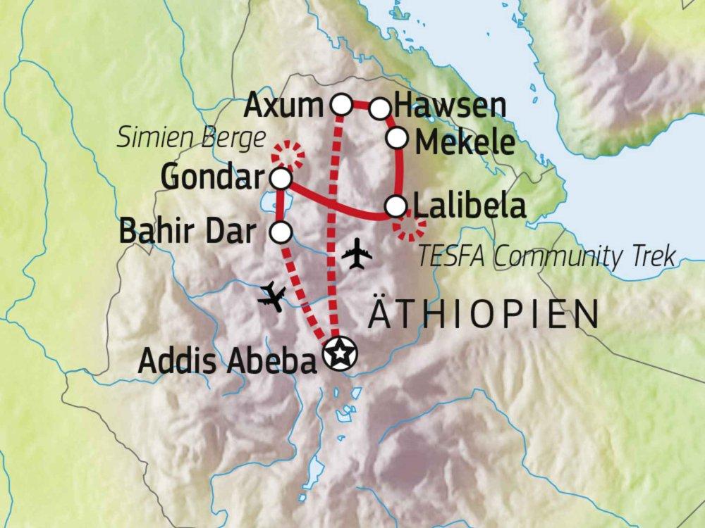 192A20003 Kultur & Trekking Äthiopien Karte