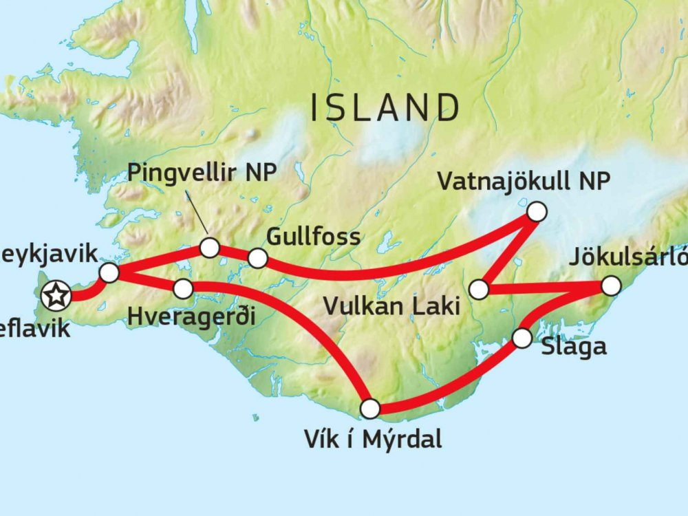 144S10001 Königreich der Vulkane und Gletscher Karte