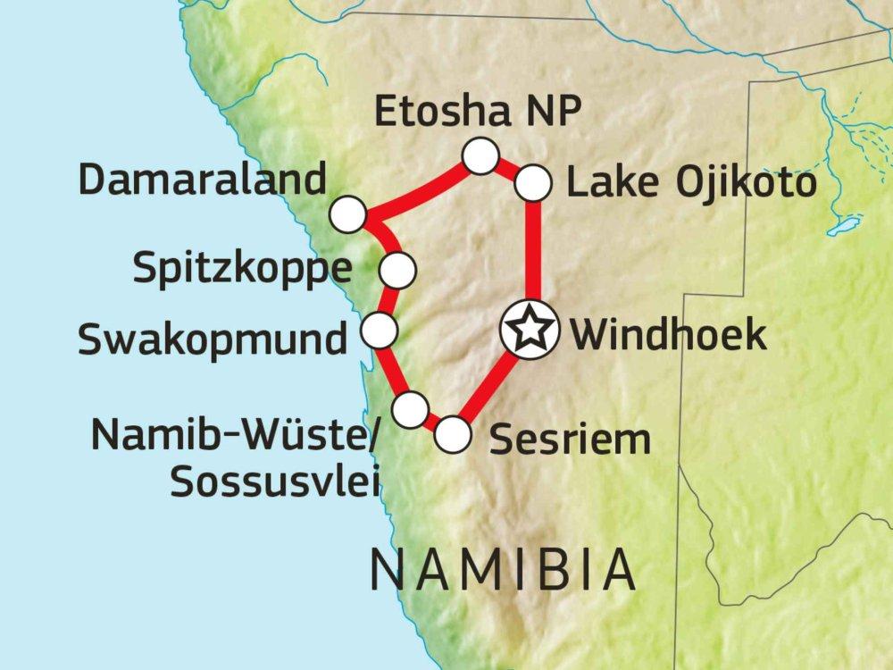 156T00007 Abenteuer Namibia im 4x4 mit Dachzelt Karte