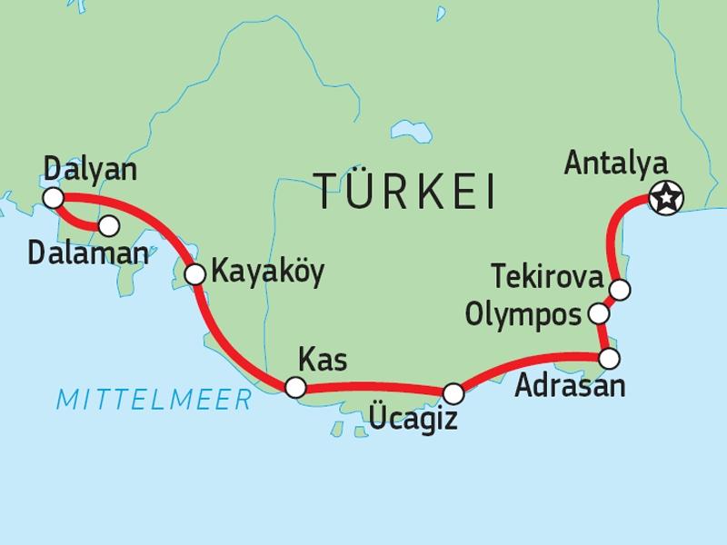 125T10013 Lykische Küste aktiv Karte