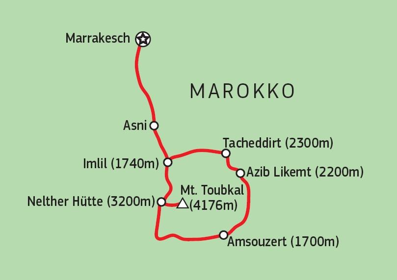 172Y51001 Mount Toubkal Besteigung Karte