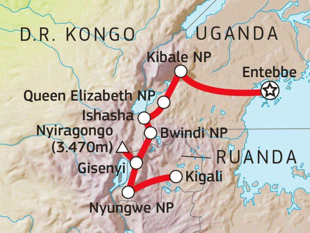 195Y10004 Naturexpedition Rift Valley & Vulkanabenteuer Kongo Karte