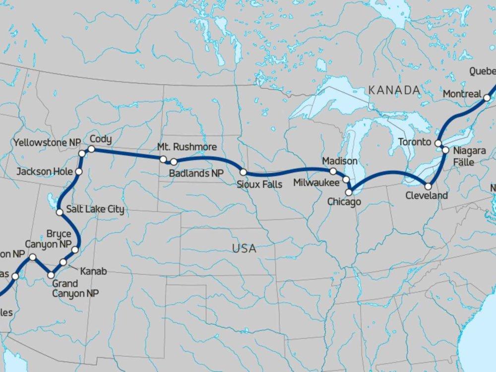 174Y10032 Durch den Norden der USA & Ostkanada Karte