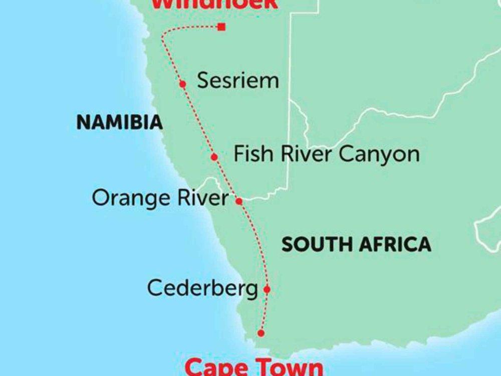 135Y10289 Overland von Windhoek nach Kapstadt Karte