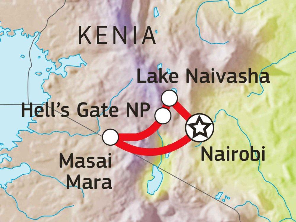 Tierparadiese Naivasha & Masai Mara Karte