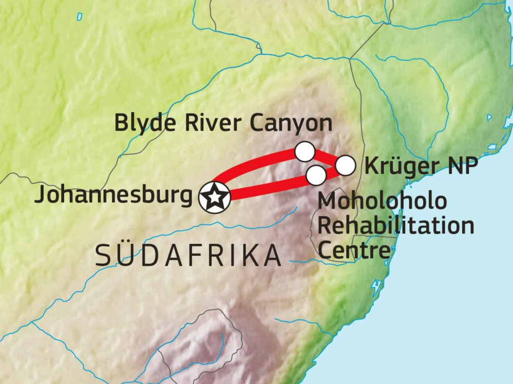 155Y20003 Krüger Nationalpark Safari - Erlebnis Baumhaus Karte