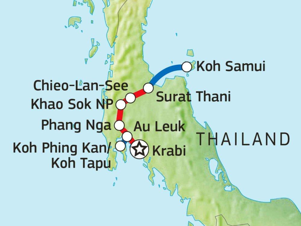 152T10600 Radreise zu den Highlights Südthailands Karte