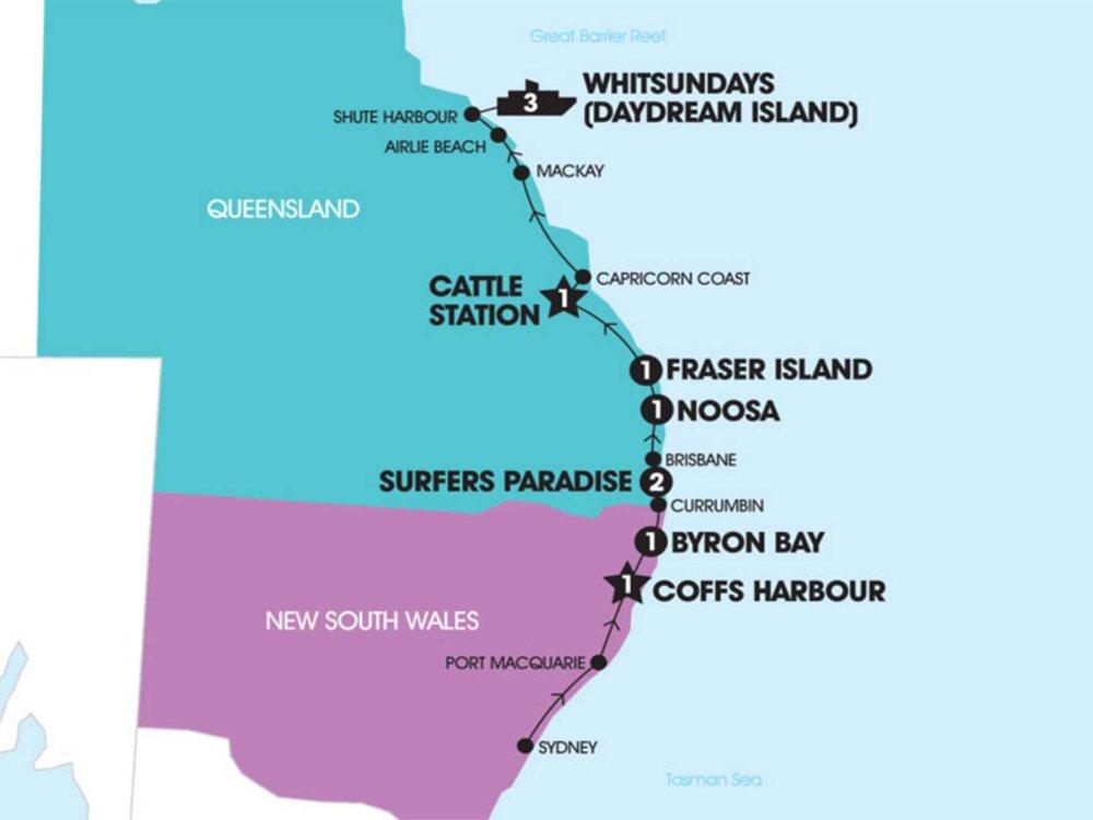 174Y10085 Von Sydney zu den Whitsundays Karte
