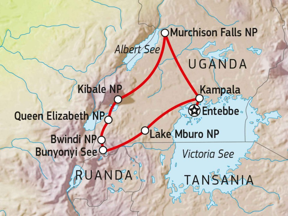 196Y00005 Naturerlebnis Uganda Karte