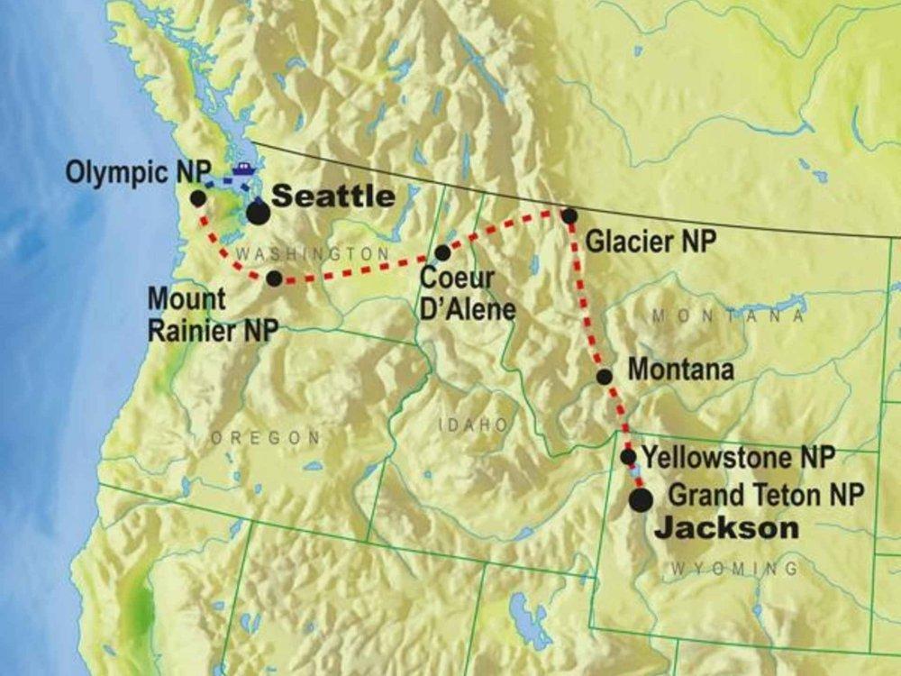 139G10057 USA intensiv - Nationalparks des Nordwesten Karte
