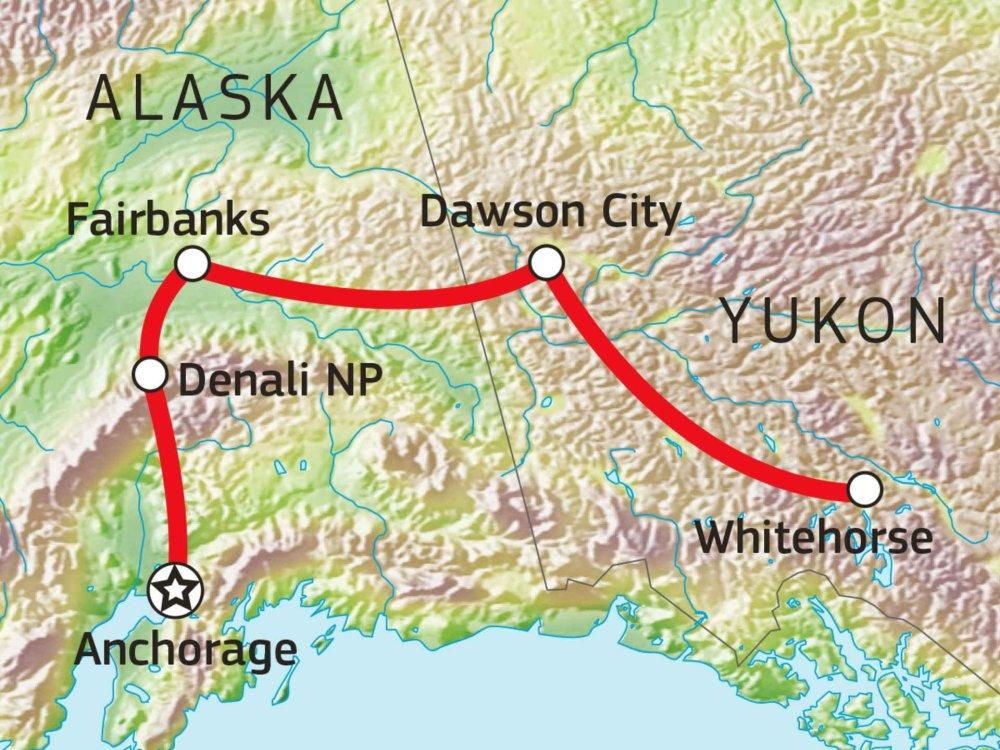 187Y21008 Alaska & Yukon - Highlights des Nordens Karte