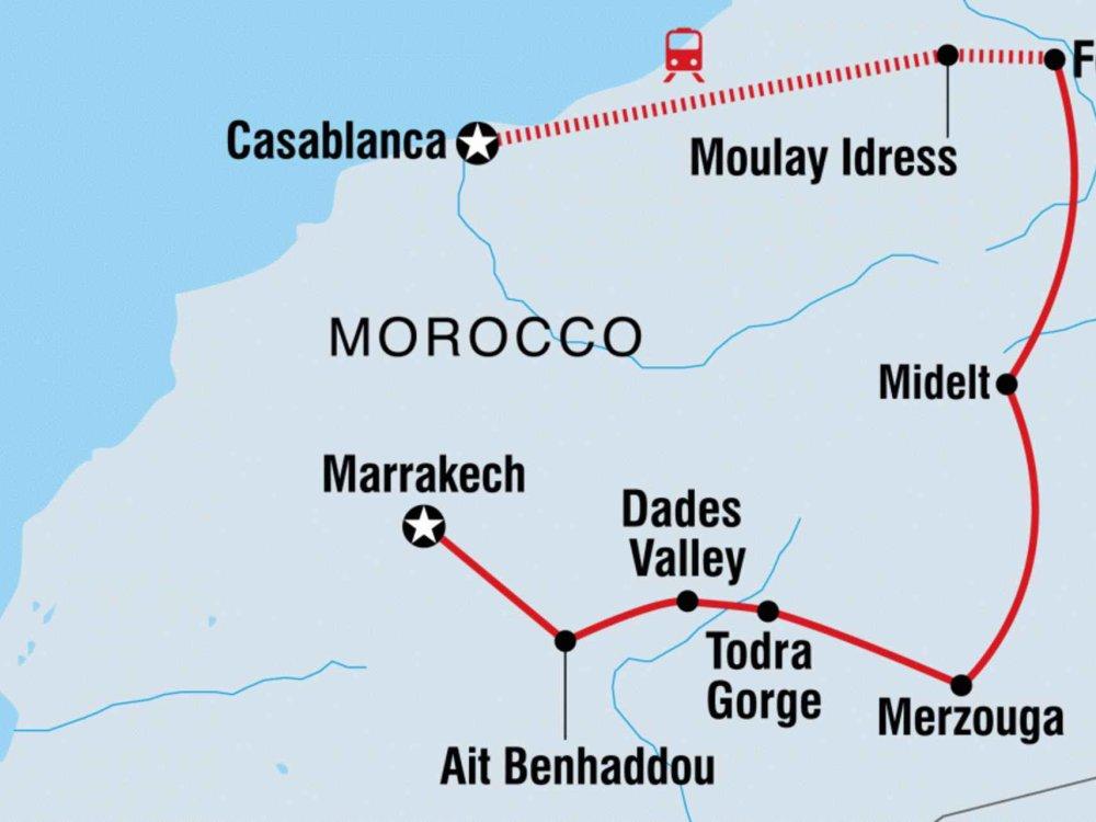 131Y21125 Erlebe Marokko - Königsstädte, Wüste & Atlasgebirge Karte