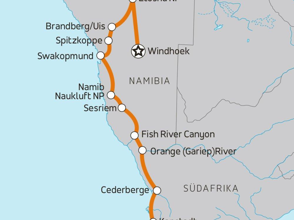 Erlebnis Namibia - Von Windhoek nach Kapstadt Karte
