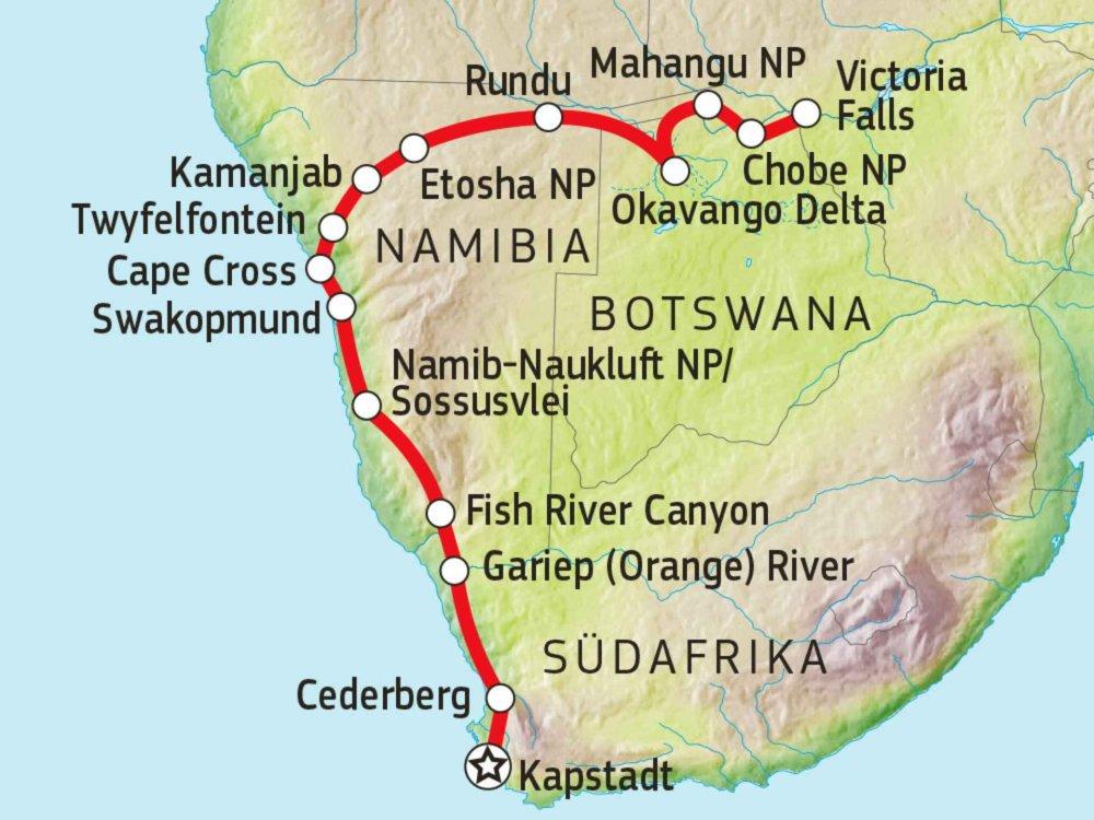 181Y10005 Kap, Sanddünen & Wasserfälle Karte