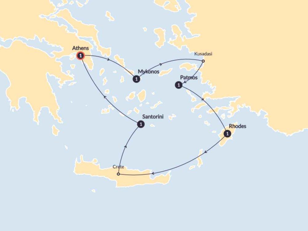 174Y20004 Schiffsreise durch die traumhafte Ägäis Karte