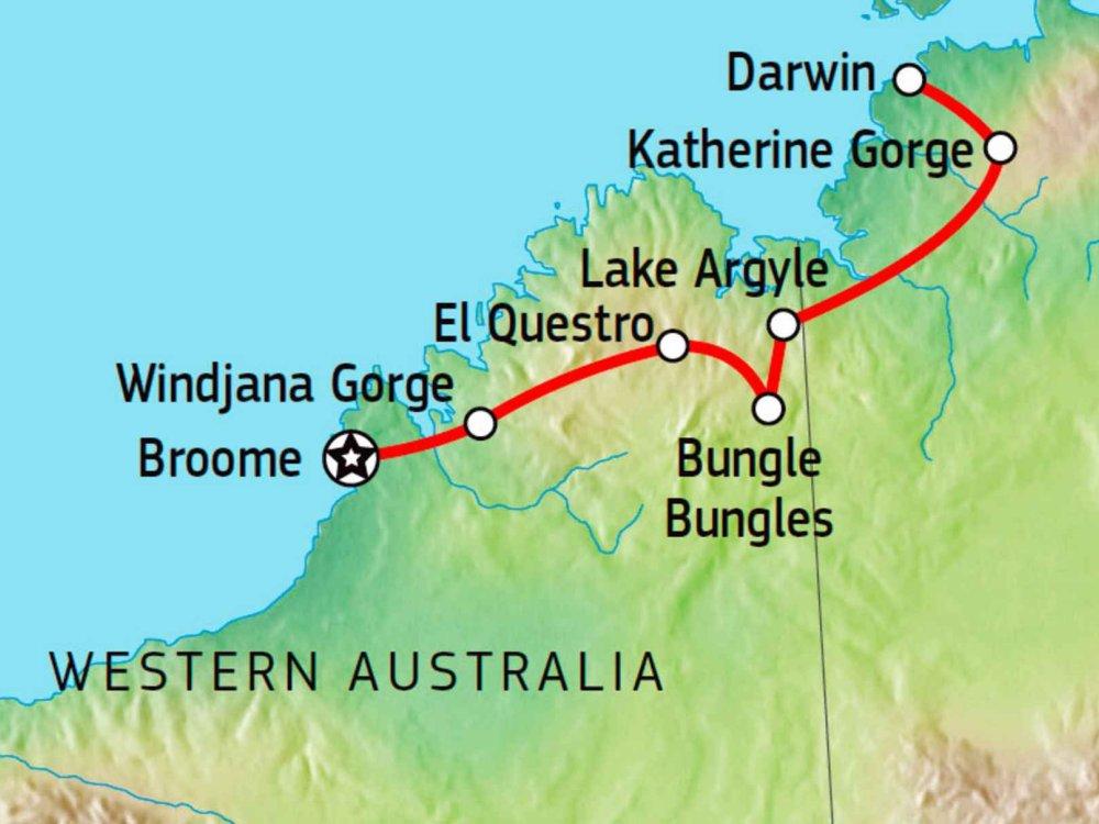 104Y20033 Allrad-Abenteuer Broome nach Darwin Karte