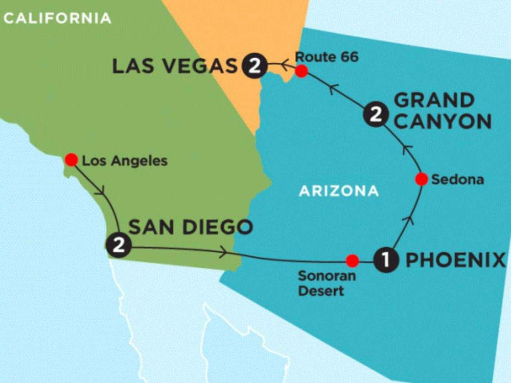 174Y10025 Los Angeles, Grand Canyon & Las Vegas Karte