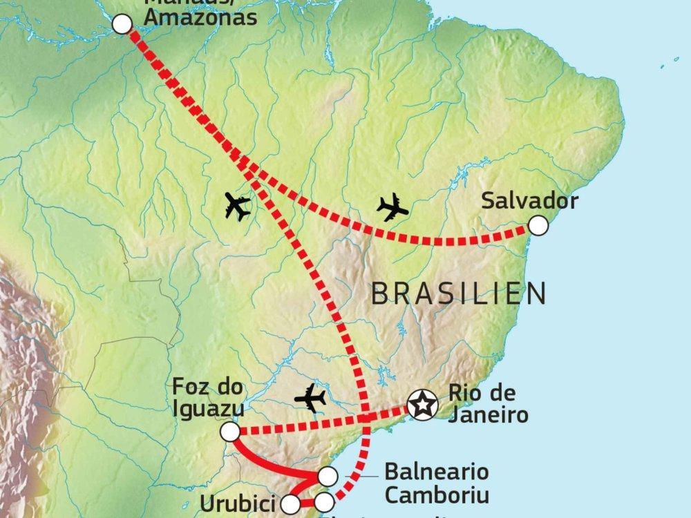190Y21004 Aktivreise Brasilien Karte