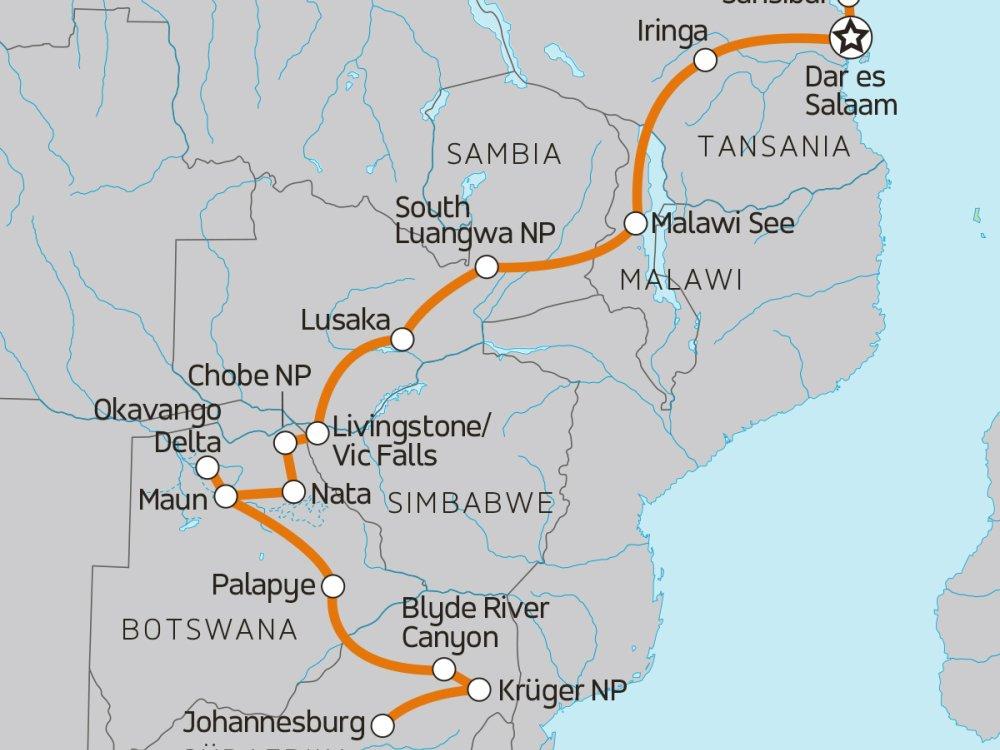 Roadtrip von Sansibar zum Krüger Nationalpark Karte