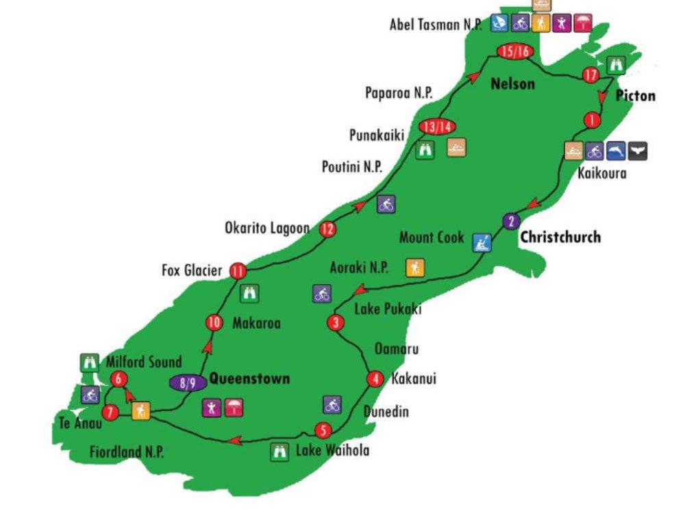 162Y13140 Neuseeland - Atemberaubende Südinsel Karte